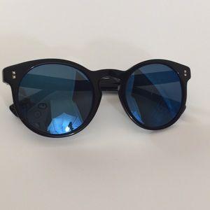 Valentino Black Round Sunglasses Blue Mirror Lens